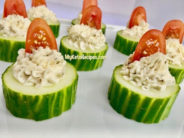 keto herb garlic cucumber appetizer snack